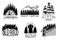 Coniferous лес, горы и деревянный логотип располагаться лагерем и одичалая природа ландшафты с соснами и холмами Эмблема или бесплатная иллюстрация