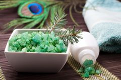 Coniferous bath salt and towel. spa Royalty Free Stock Images