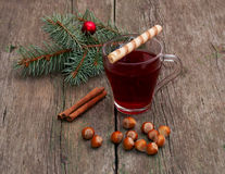 Coniferous branch, tea, linking of cinnamon and nutlets Royalty Free Stock Images