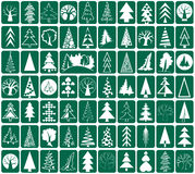 Coniferous and deciduous trees icons Stock Image