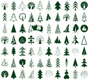 Coniferous and deciduous trees icons on white Royalty Free Stock Photography