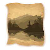 Coniferous Fir Trees Silhouettes. Landscape, Mountain Lake with Islands, Coniferous Fir Trees Silhouettes on Vintage Background of an Old Sheet of Paper. Eps10 Royalty Free Stock Photography