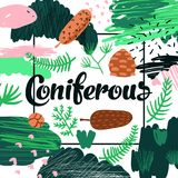 Coniferous Forest Hand Drawn Design. Childish Natural Background for Poster, Greeting Card, Decoration, Cover. Vector illustration royalty free illustration