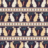Conigli con il vettore senza cuciture del modello di retro stile d'annata delle carote Fotografia Stock