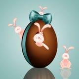 Conigli con l'uovo di Pasqua Fotografie Stock