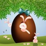 Conigli con l'uovo di Pasqua Fotografia Stock