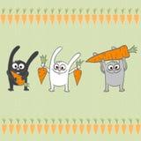 Conigli con le carote royalty illustrazione gratis