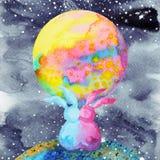 Conigli delle coppie degli amanti dolci nella pittura dell'acquerello dell'universo Immagini Stock Libere da Diritti