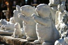 Conigli di ceramica orizzontali Fotografie Stock