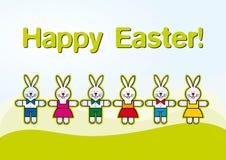 Conigli di Pasqua del taglio del documento, illustrazione dei bambini Fotografia Stock Libera da Diritti