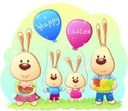 Conigli di Pasqua della famiglia Fotografia Stock