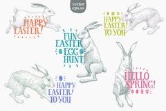 Conigli disegnati a mano di Pasqua con l'iscrizione di saluto Insieme dell'illustrazione di vettore della primavera Stile dell'an Fotografia Stock Libera da Diritti