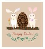Conigli divertenti con le uova di Pasqua Illustrazione di vettore Stile piano Immagini Stock Libere da Diritti