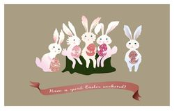 Conigli divertenti con le uova di Pasqua Illustrazione di vettore Stile piano Fotografia Stock Libera da Diritti