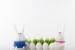 Conigli ed uova di Pasqua in erba Immagini Stock Libere da Diritti