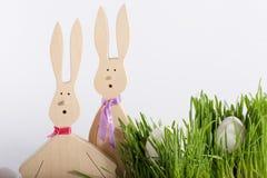 Conigli ed uova di Pasqua in erba Immagine Stock Libera da Diritti