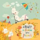 Conigli pazzi svegli che giocano nella stagione di caduta di autunno illustrazione di stock