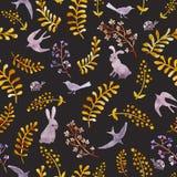 Conigli, uccelli, coccinelle, foglie di autunno Ripetizione del modello ditsy sveglio watercolor royalty illustrazione gratis