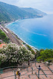 Coniglia train railway station view from the village Royalty Free Stock Images
