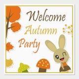 Coniglietta sveglia con l'illustrazione del fumetto di vettore degli elementi di autunno per progettazione della cartolina d'augu fotografia stock