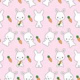 Coniglietti con il modello senza cuciture delle carote Fotografia Stock