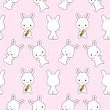 Coniglietti con il modello senza cuciture delle carote Fotografie Stock Libere da Diritti