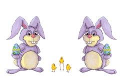 Coniglietti di pasqua e pulcino di pasqua Immagini Stock