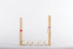 Coniglietti di pasqua ed uova bianche Fotografia Stock Libera da Diritti