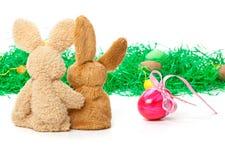 Coniglietti di pasqua, regalo di Pasqua, uovo Fotografia Stock