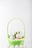 Coniglietti di pasqua in un canestro verde Fotografia Stock Libera da Diritti