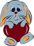 Coniglietto amoroso con cuore Immagini Stock Libere da Diritti