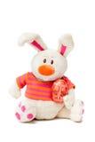 Coniglietto bianco della peluche di Pasqua Fotografie Stock Libere da Diritti