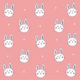 Coniglietto bianco sveglio nel rosa Fotografia Stock Libera da Diritti