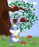 Coniglietto blu con un mazzo su una radura della foresta Sorgente illustrazione di stock