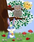 Coniglietto blu con un mazzo su una radura della foresta Sorgente illustrazione vettoriale