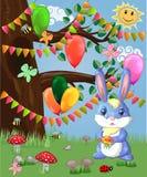 Coniglietto blu con un mazzo su una radura della foresta Sorgente royalty illustrazione gratis