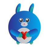 Coniglietto blu di amore Fotografie Stock