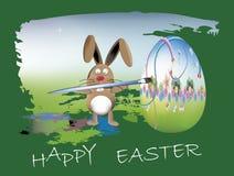 Coniglietto che dipinge le uova di Pasqua Fotografie Stock Libere da Diritti