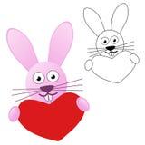 Coniglietto che tiene cuore rosso Fotografia Stock