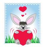 Coniglietto che tiene un grande cuore Fotografia Stock Libera da Diritti
