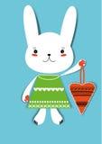 Coniglietto con cuore Fotografia Stock