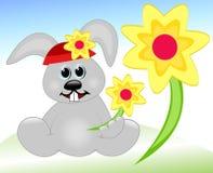 Coniglietto con i fiori della sorgente Fotografia Stock
