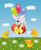 Coniglietto con un uovo colorato Fotografia Stock