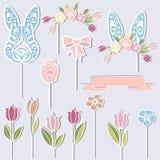 Coniglietto, corona floreale, orecchie del coniglietto, fiori come cappelli a cilindro del dolce royalty illustrazione gratis