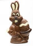 Coniglietto del cioccolato di Pasqua su un fondo bianco Immagini Stock Libere da Diritti