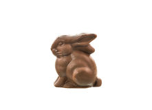 Coniglietto del cioccolato isolato su priorità bassa bianca Fotografie Stock Libere da Diritti