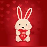 Coniglietto del coniglio con amore del cuore Fotografia Stock