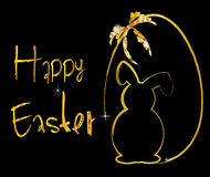 Coniglietto del fondo di Pasqua in oro Immagini Stock Libere da Diritti