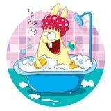 Coniglietto del fumetto che prende un bagno Fotografie Stock Libere da Diritti