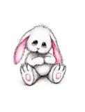 Coniglietto del giocattolo su priorità bassa bianca Fotografia Stock Libera da Diritti